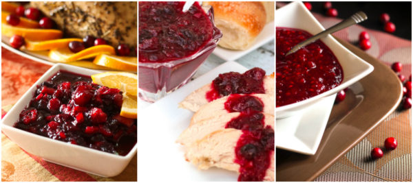 A collage of cranberry sauces including orange cranberry sauce, raspberry cranberry sauce, and low-sugar cranberry sauce