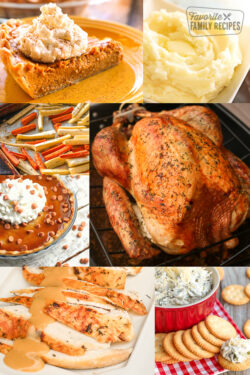 A collage of Thanksgiving Dinner Foods with Pie, Roasted Parsnips, Turkey, Mashed Potatoes, and Gravy