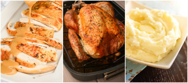A collage of Thanksgiving dinner turkey, turkey slices with gravy, and mashed potatoes