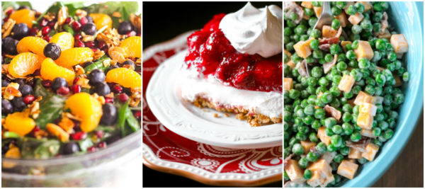 A collage of Thanksgiving salads including mandarin spinach salad, strawberry pretzel salad, and creamy green pea salad