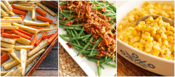 A collage of Thanksgiving side dishes including roasted parsnips, green bean casserole, and creamed corn