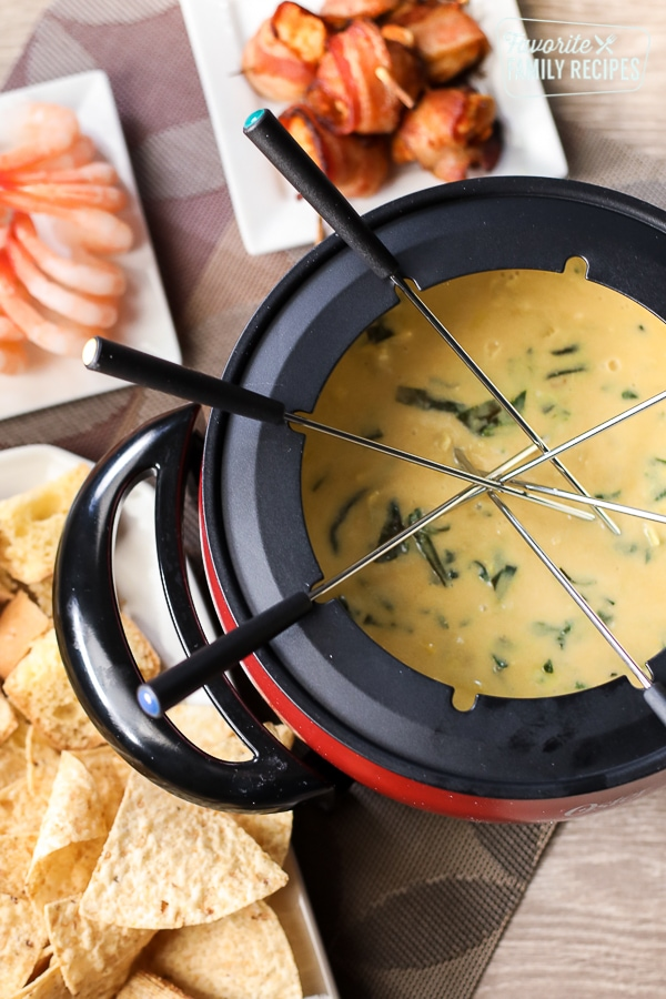Melting Pot's Spinach Artichoke Cheese Fondue with skewers