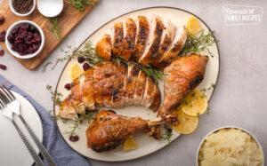 Sliced turkey on a platter.