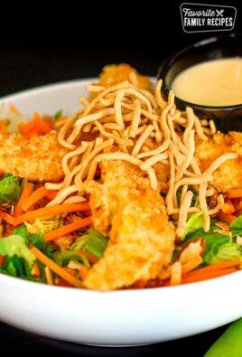 Oriental Chicken Salad in a white bowl