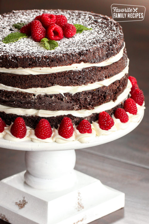Ridiculously delicious chocolate cake on a white cake stand