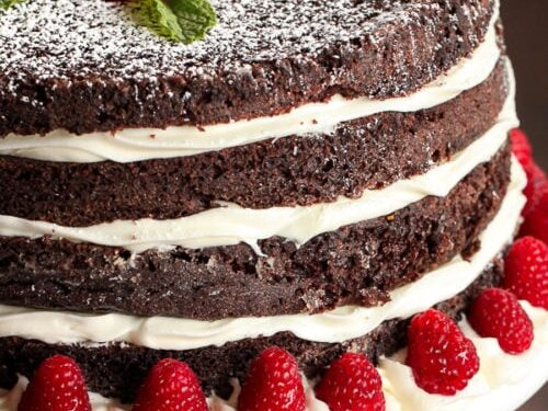 Layered chocolate cake on a cake plate