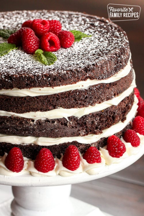 ridiculously delicious chocolate cake on white cake stand