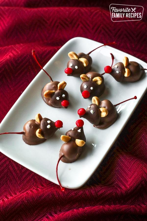 Chocolate Cherry Mice made out of Hershey's kisses and maraschino cherries
