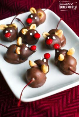 Chocolate cherry mice on a white tray