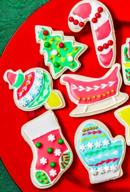 Decorated Christmas cookies on a plate