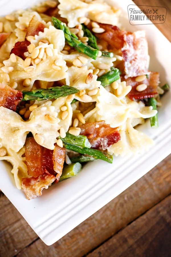 Creamy Bowtie and Asparagus Pasta on a white dish