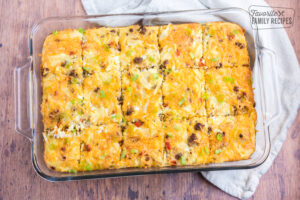 Breakfast casserole in a glass baking pan