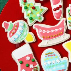 Beautifully decorated Christmas cookies on a plate