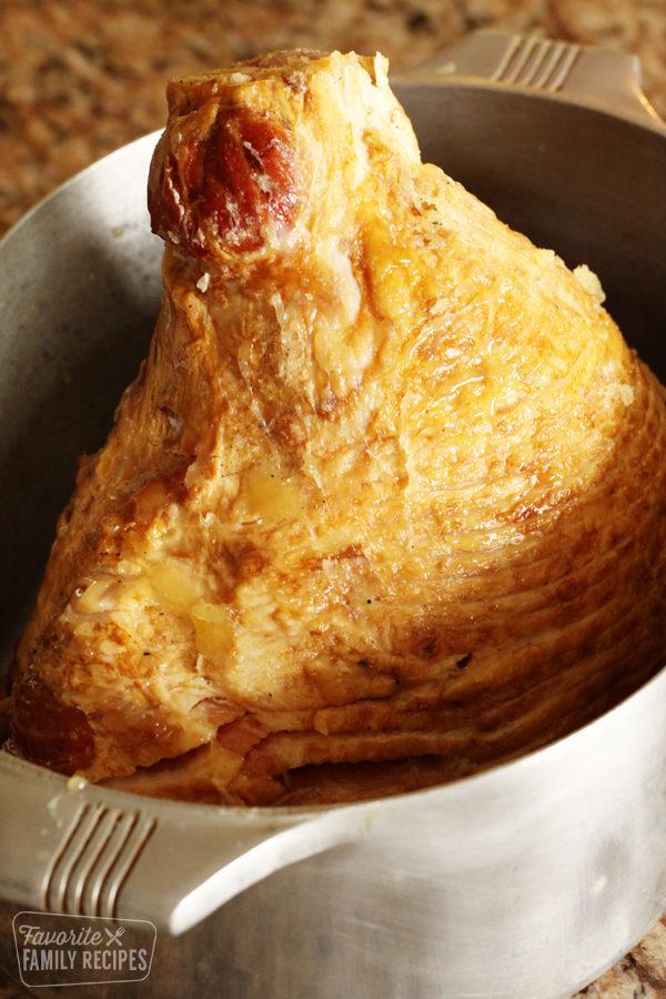 Large spiral ham in a roasting pan