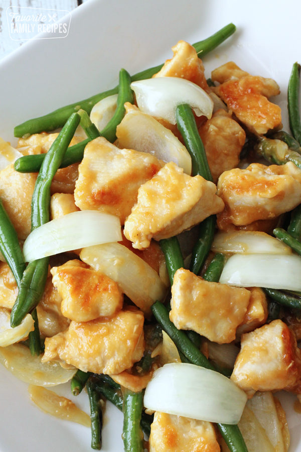 Plate of Panda Express String bean chicken with string beans and onions