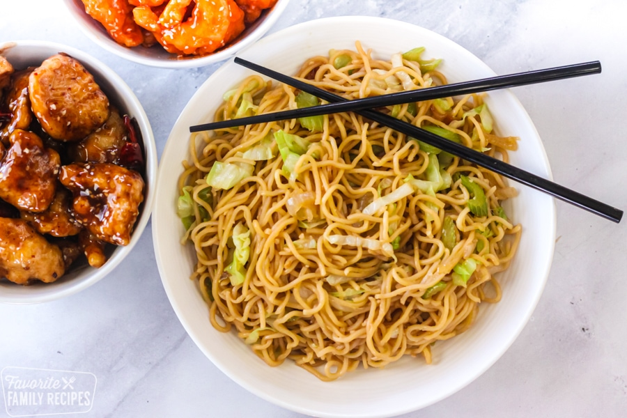 Panda Express chow mein with orange chicken