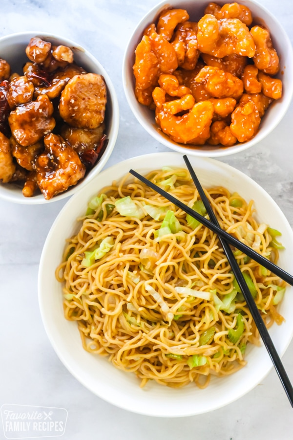 Panda Express Chow Mein with sweet and sour chicken