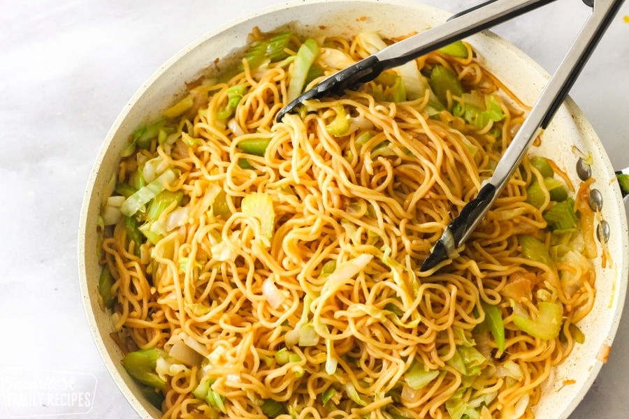 Panda Express chow mein recipe in a skillet being served