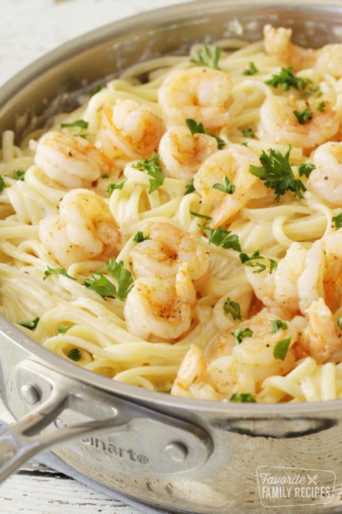 Shrimp Alfredo in a large skillet