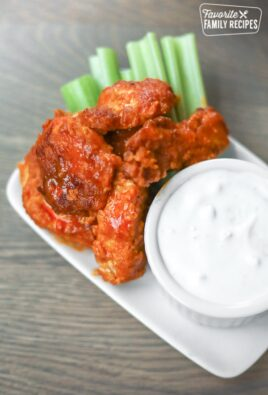 Boneless Buffalo Wings with Celery and Blue Cheese Dip
