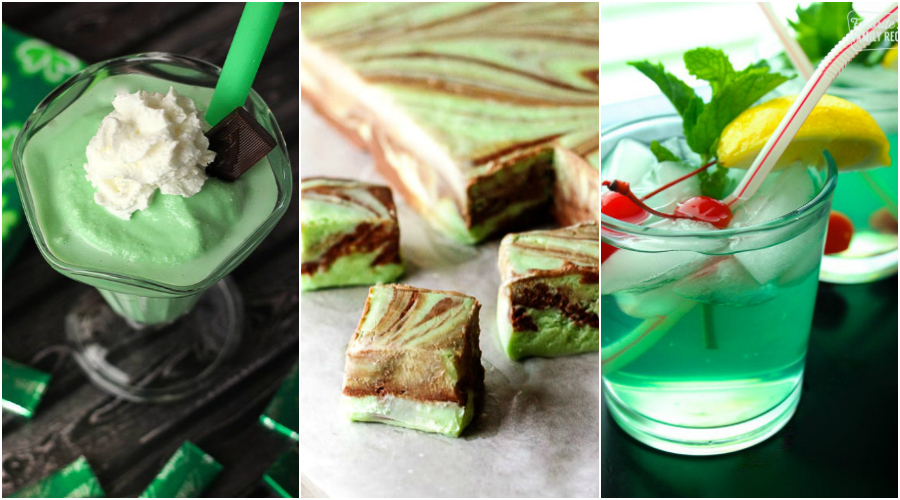 St. Patrick's day Shamrock shake, fudge, and mint juleps in a collage