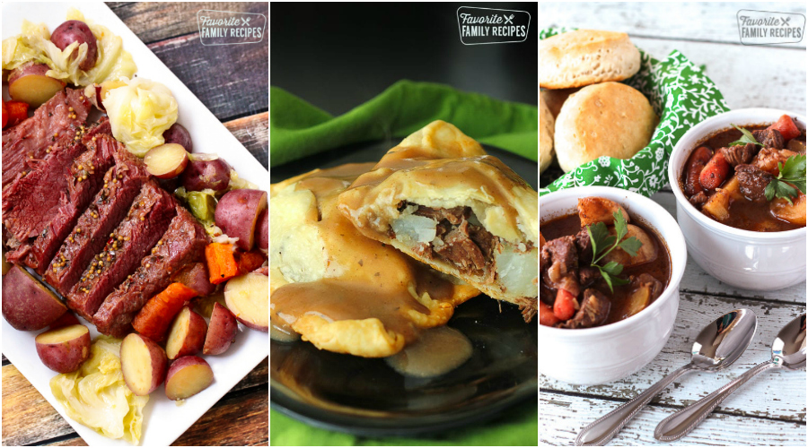 Corned Beef and Cabbage, Irish Pasties, and Irish Stew in a collage