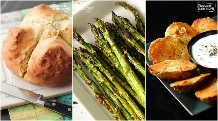 Irish soda bread, asparagus, and potatoes in a collage