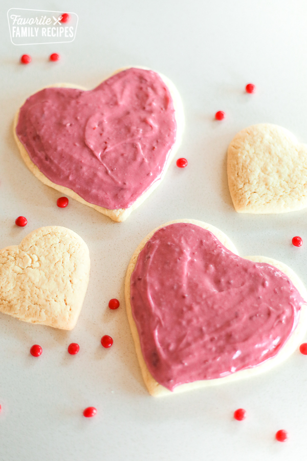 Sugar Cookies with Raspberry Frosting, some frosted, some plain