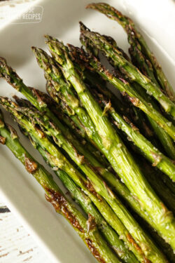 Close up of roasted asparagus on a plate