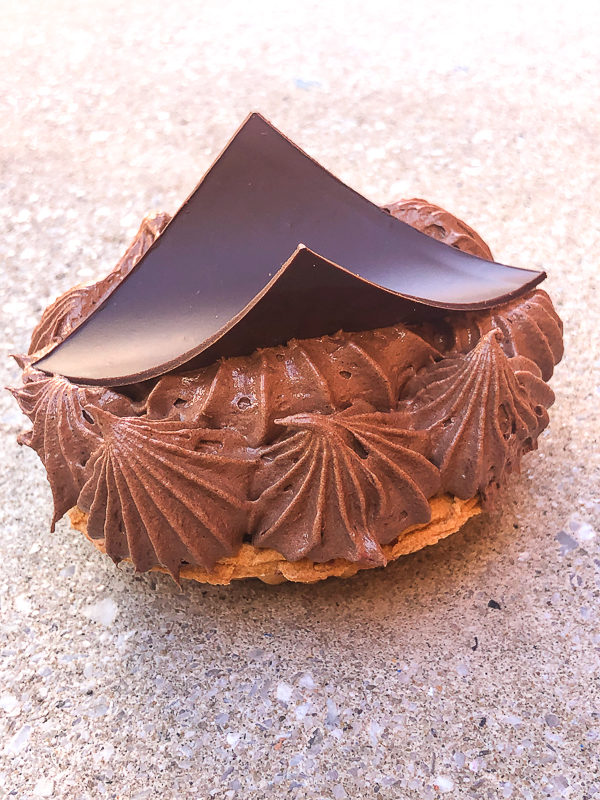 Chocolate Mousse Tart with a decorative chocolate sheet topping