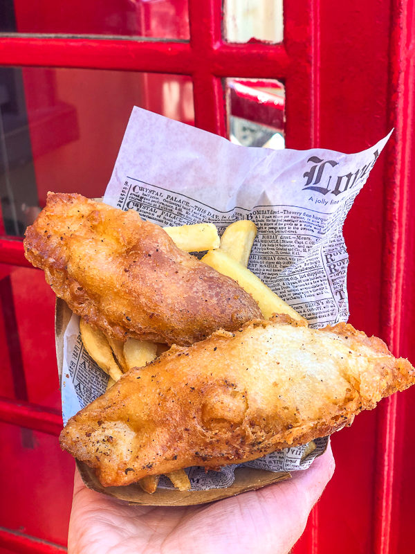 Fish and Chips served on a London newspaper at the Yorkshire County Fish Shop in Epcot's World Showcase