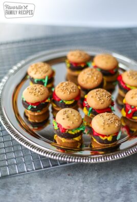 A tray of food prank mini hamburgers made from candy and cookies