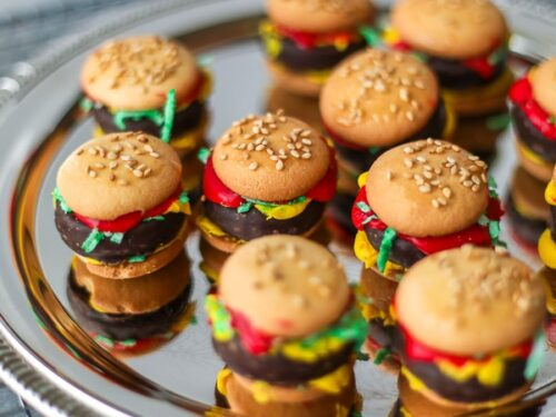 A tray of food prank mini hamburgers made out of candy