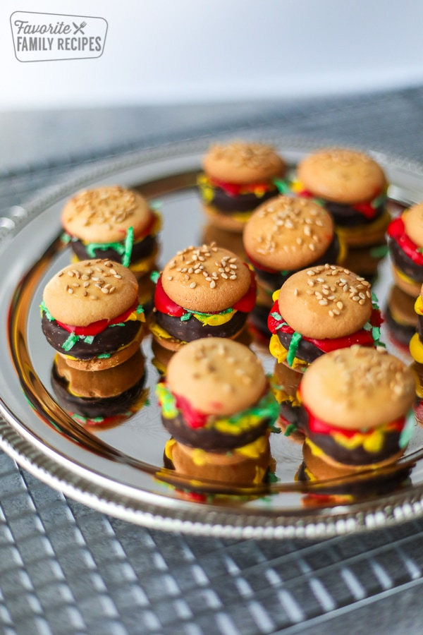 silver tray of April Fools' mini hamburgers