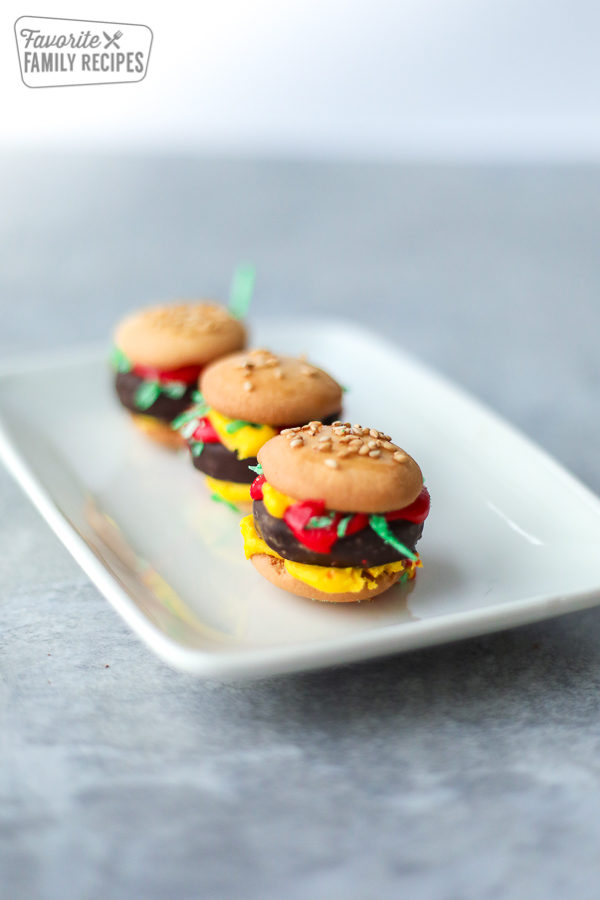 Food Prank Mini Hamburgers made from candy on a platter