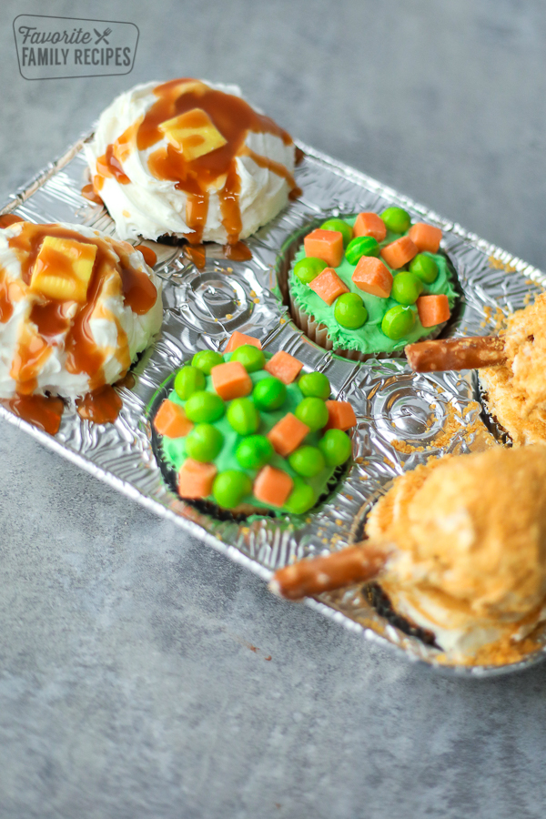 tin of April Fools' TV dinner cupcakes