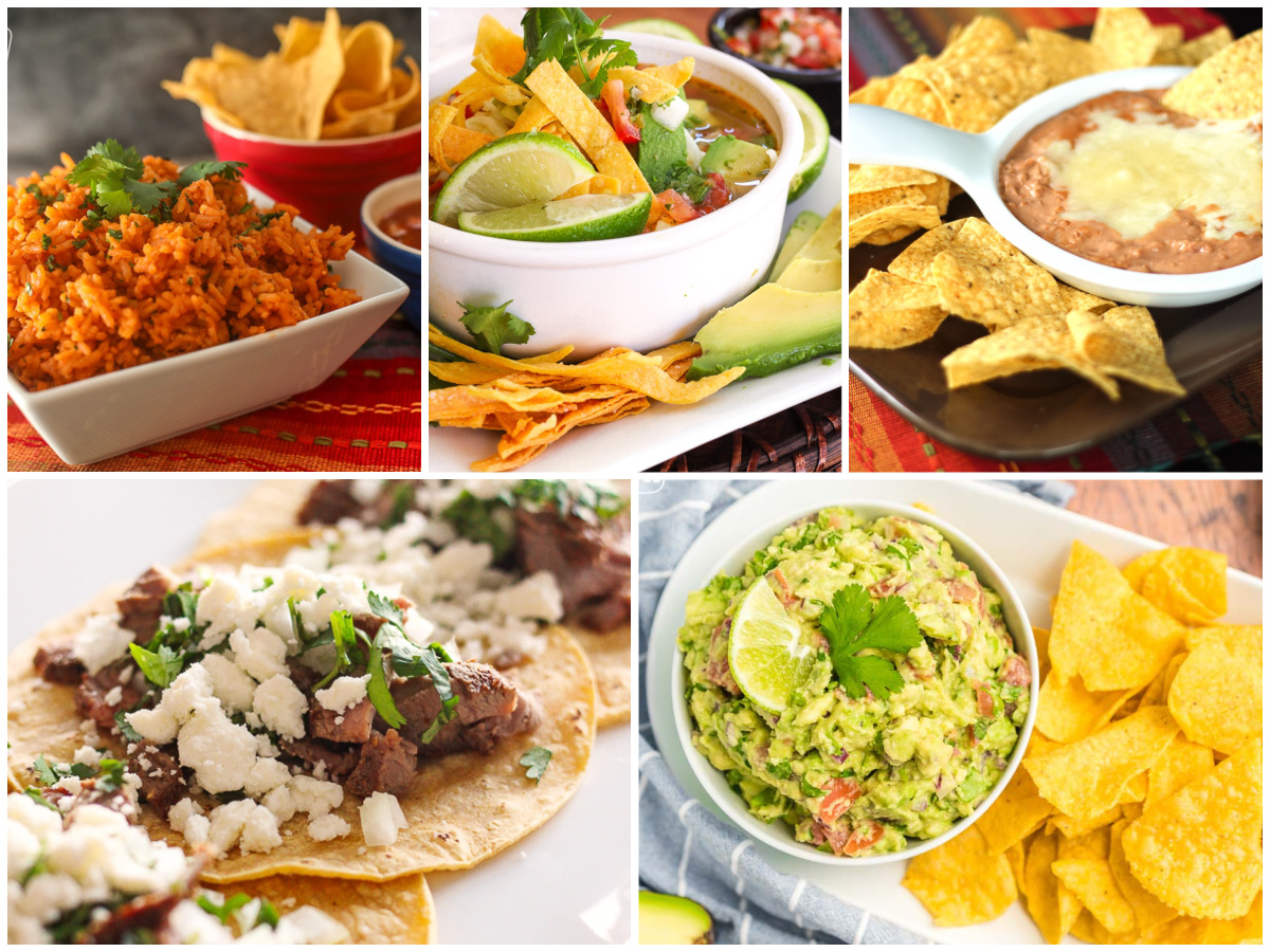 5 different Mexican food dishes: Mexican rice, refried beans, tacos, guacamole, and  tortilla soup