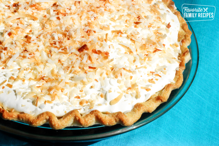 Whole Coconut Cream Pie in a Baking Dish