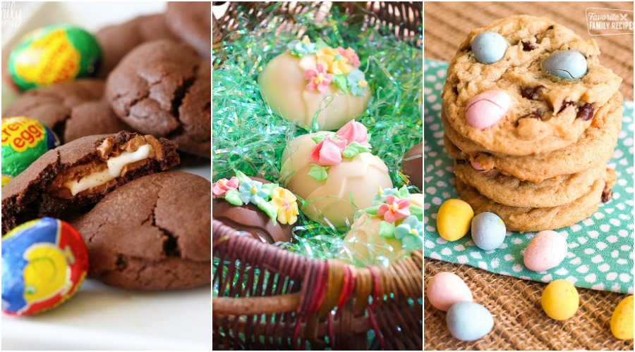 Collage of Chocolate Easter Cookes, Peanut Butter Chocolate Eggs, and Cadbury Mini Egg Cookies