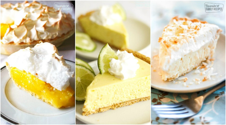 Lemon Meringue Pie, Key Lime pie, and Coconut cream pie