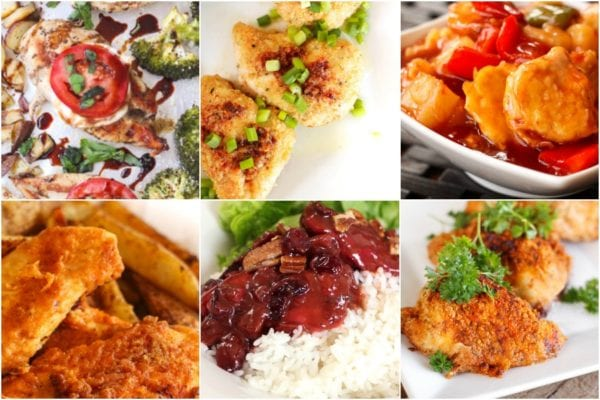 Collage of baked chicken recipes including oven fried chicken, baked garlic chicken and bakes sweet and sour chicken