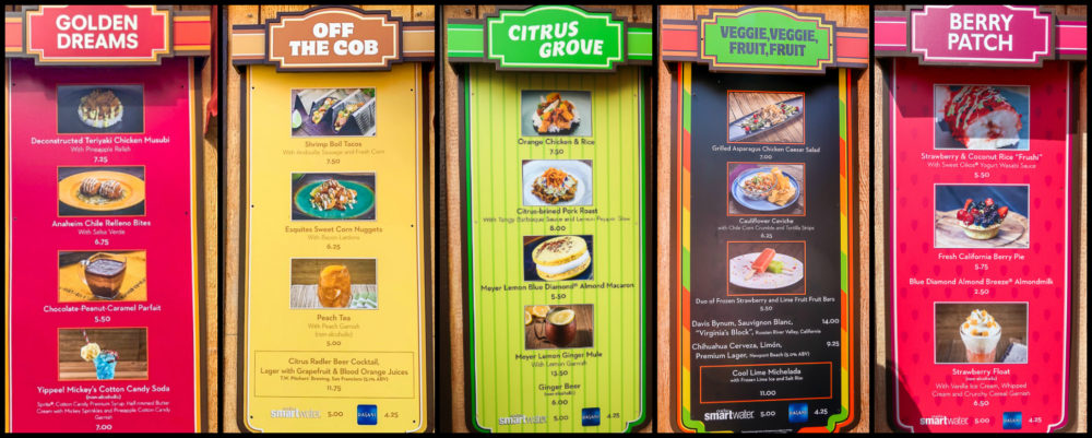 Menus from booths at the Disney California Adventure Food & Wine Festival