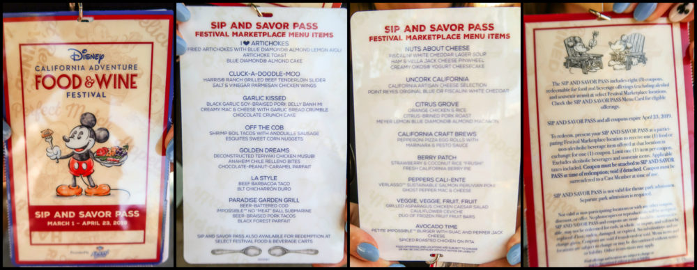 Menu from Disney California Adventure Food & Wine Festival