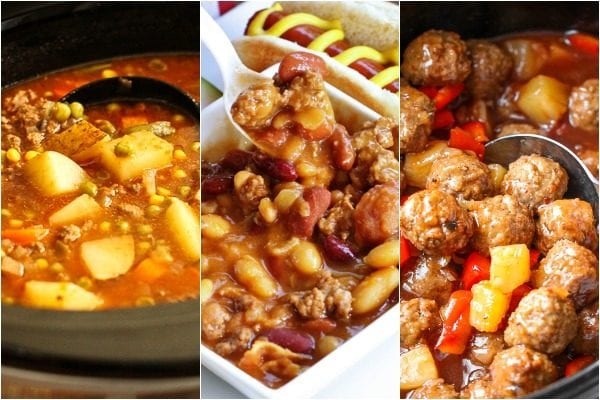 Ground beef Crock Pot recipes including soup, baked beans, and meatballs