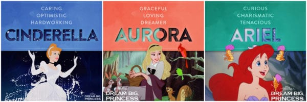 The qualities of Cinderella, Aurora, and Ariel