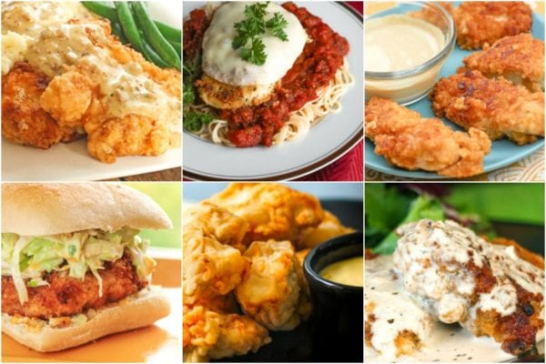 Collage of fried chicken recipes including chicken fried chicken, chicken parmesan, and a southern fried chicken sandwich