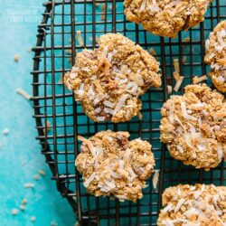 Graham Cracker Cookies with Coconut on a round cooling rack with a teal background