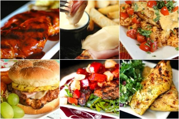 Collage of grilled chicken recipes including BBQ chicken, Malibu chicken, and coconut curry chicken