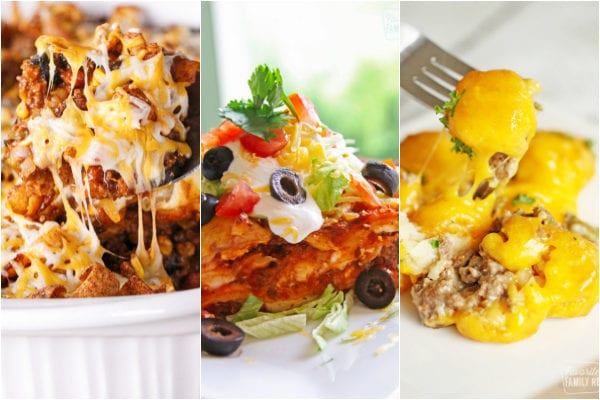Ground Beef Casserole Recipes including Frito pie, Mexican lasagna, and tater tot casserole