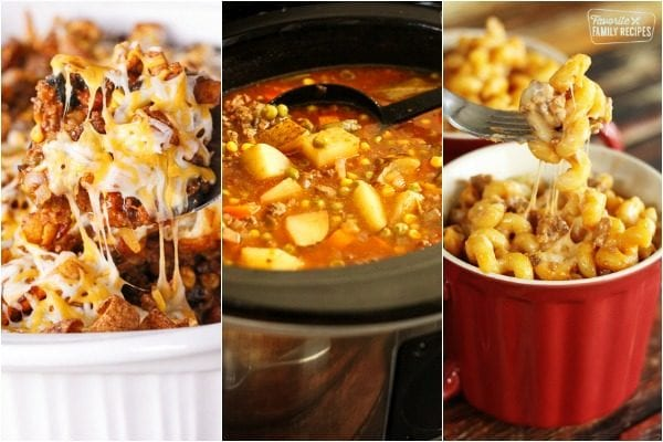 Three ground beef dinner recipes including beef soup, frito pie, and beef and noodles